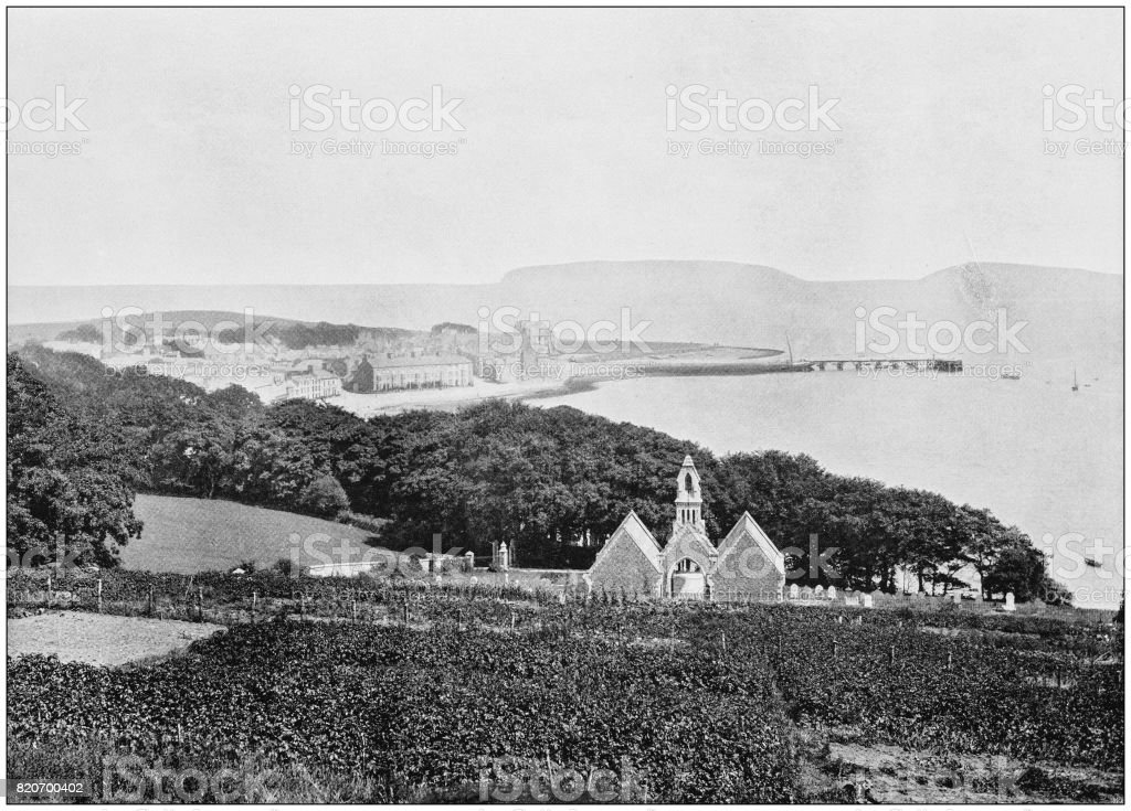 Antique photograph of seaside towns of Great Britain and Ireland: Beaumaris stock photo