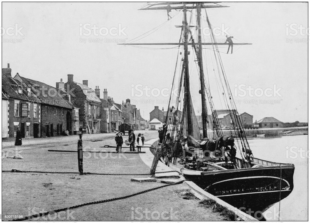 Antique photograph of seaside towns of Great Britain and Ireland: Wells stock photo
