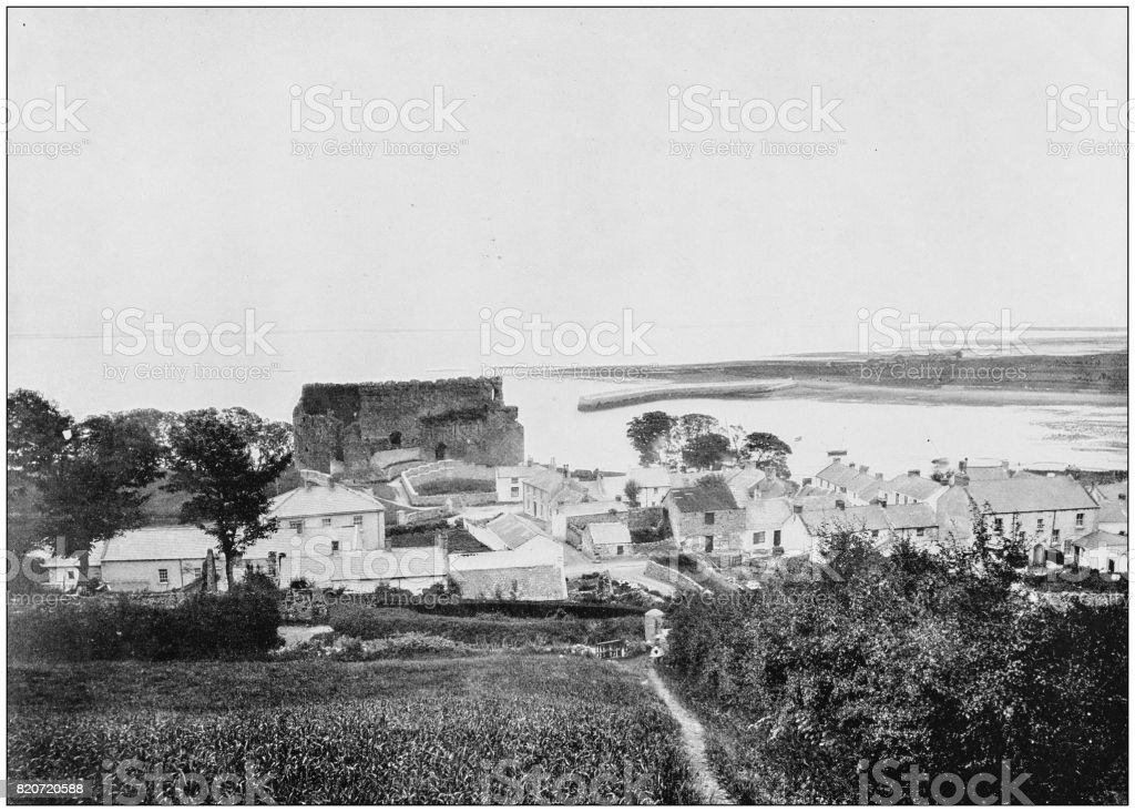 Antique photograph of seaside towns of Great Britain and Ireland: Carlingford stock photo