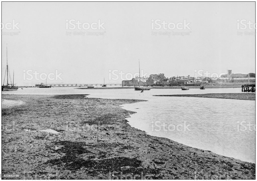 Antique photograph of seaside towns of Great Britain and Ireland: Yarmouth (Isle of Wight) stock photo