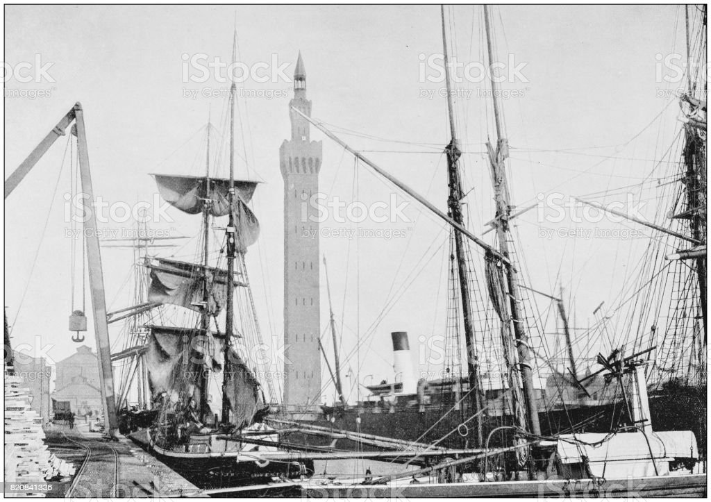 Antique photograph of seaside towns of Great Britain and Ireland: Grimsby stock photo