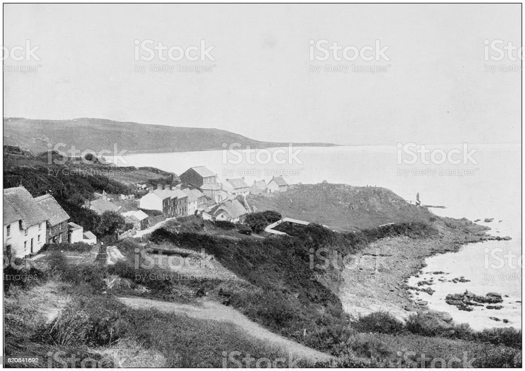 Antique photograph of seaside towns of Great Britain and Ireland: Coverack stock photo