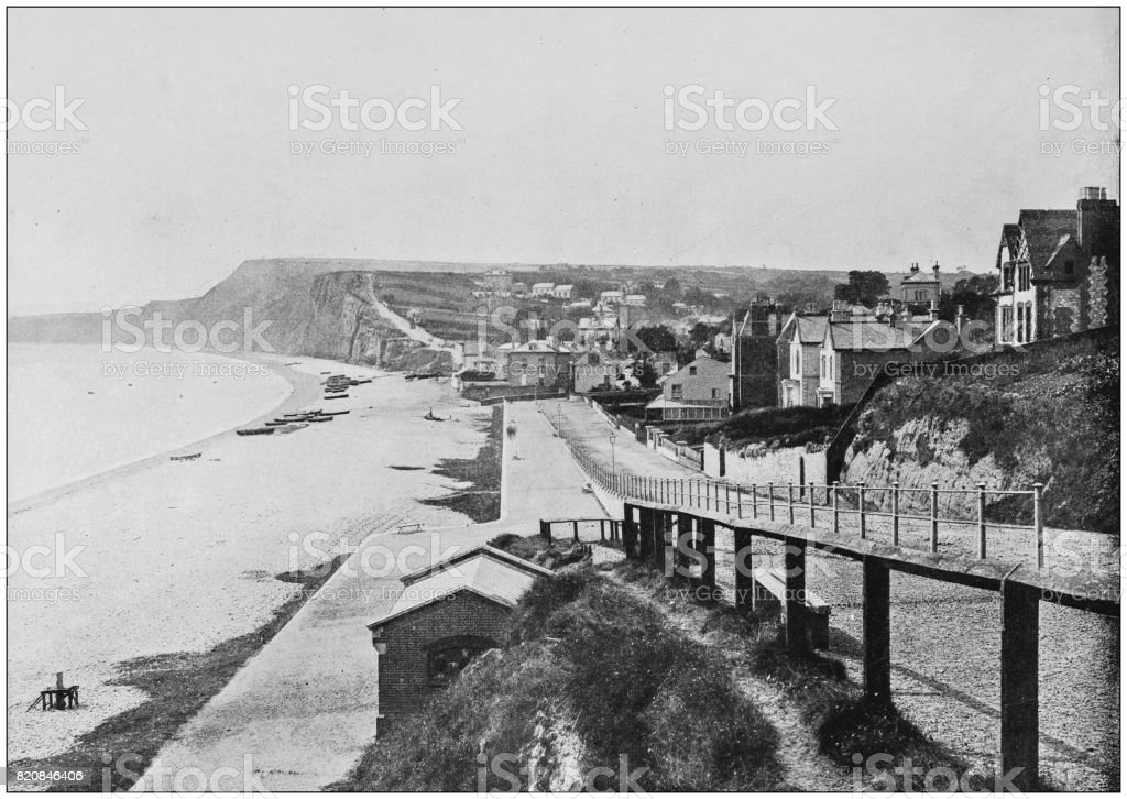 Antique photograph of seaside towns of Great Britain and Ireland: Budleigh Salterton stock photo