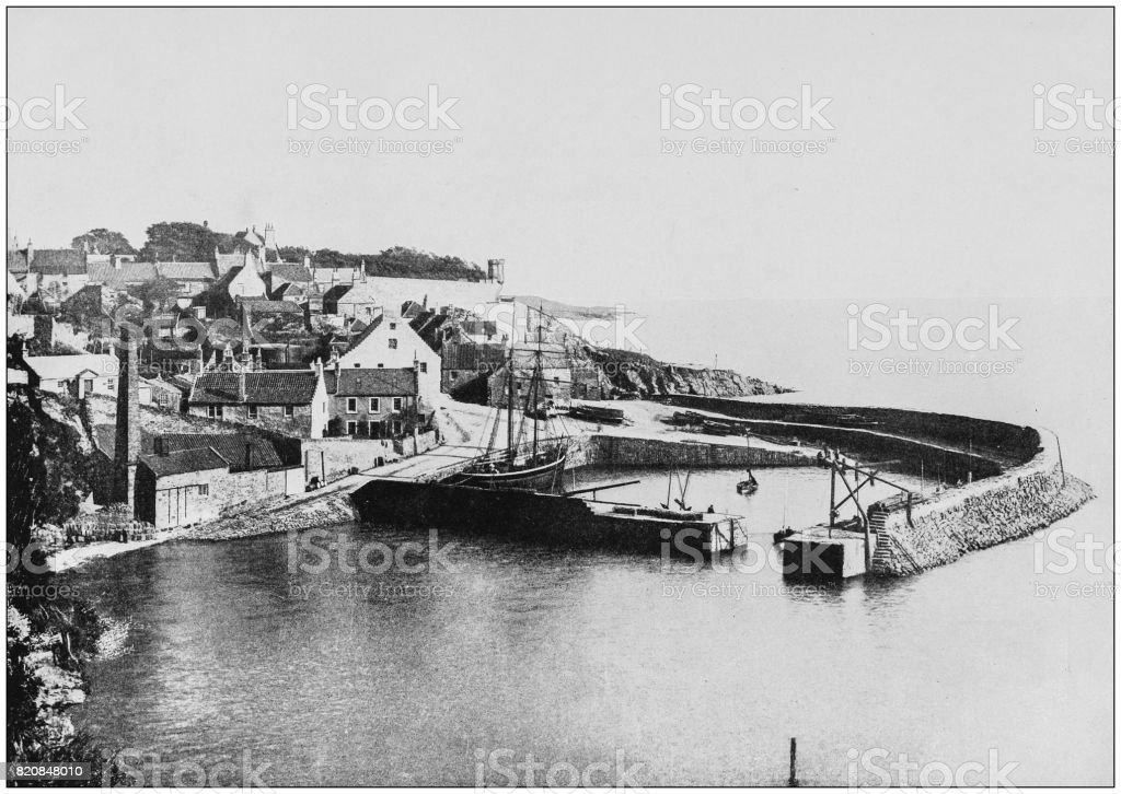 Antique photograph of seaside towns of Great Britain and Ireland: Crail stock photo