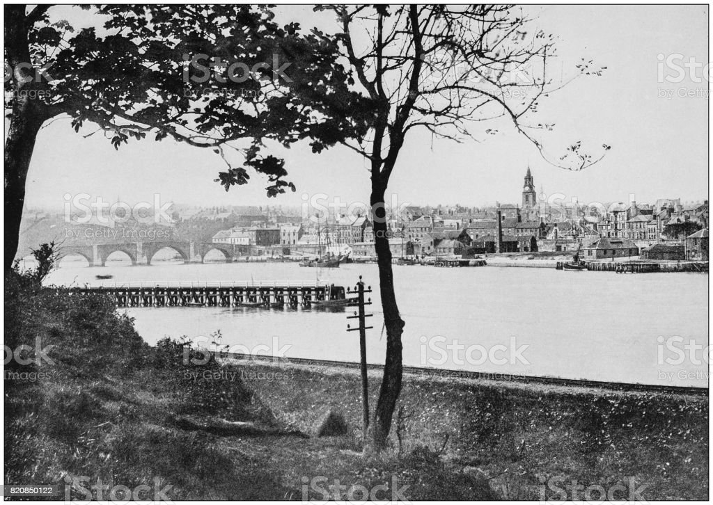 Antique photograph of seaside towns of Great Britain and Ireland: Berwick stock photo