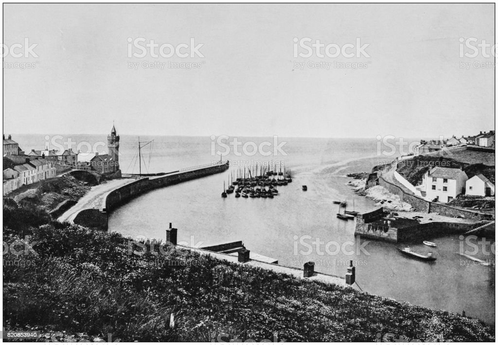 Antique photograph of seaside towns of Great Britain and Ireland: Porthleven stock photo