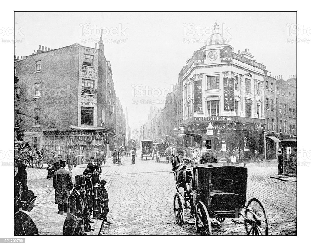 Antique photograph of Seven Dials junction in London (19th century) stock photo