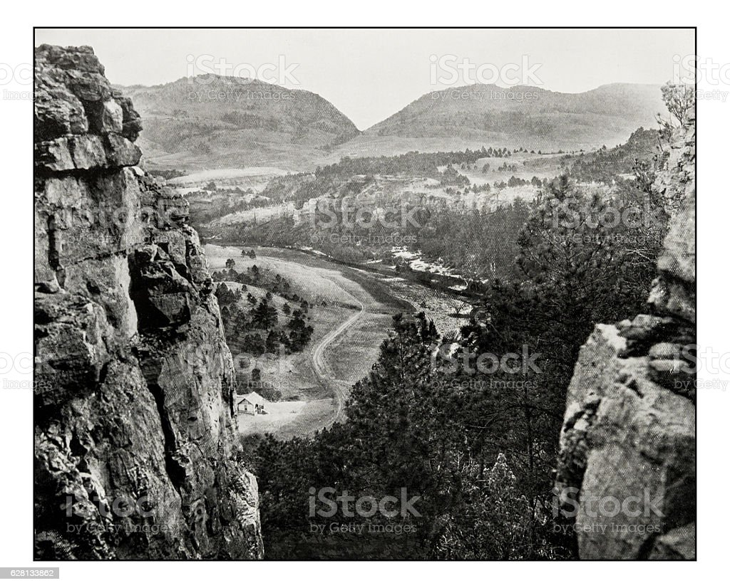 Antique photograph of Sioux Pass stock photo