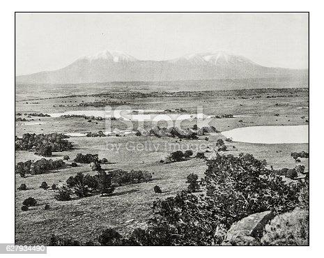 Antique photograph of Spanish Peaks, Colorado