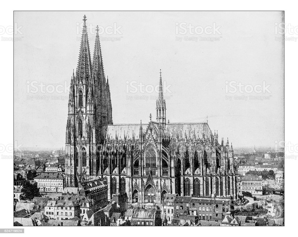 Antique photograph of Strasbourg cityscape with Cathedral (19th century) stock photo