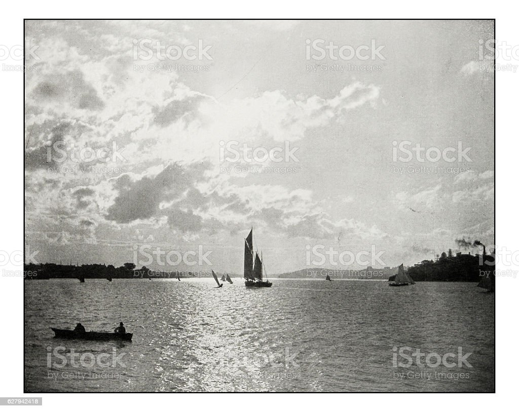 Antique photograph of Sydney Harbour stock photo