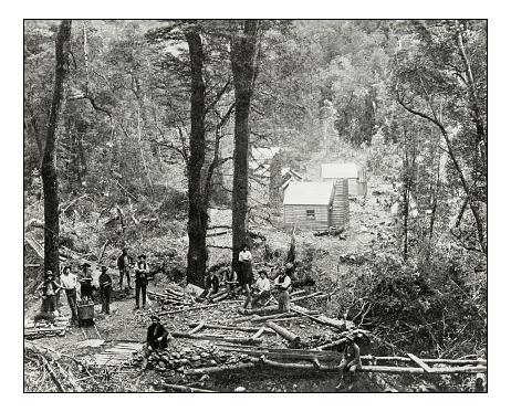 Antique photograph of Tasmania silver mine