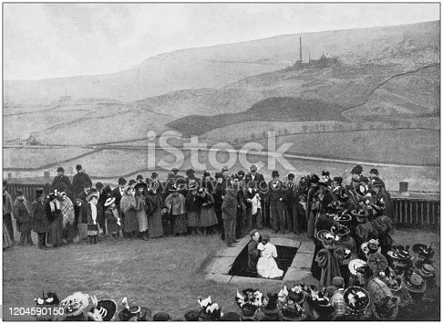 Antique photograph of the British Empire: Baptism of a believer, Yorkshire