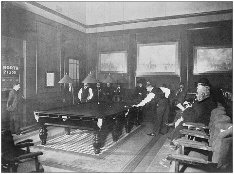 Antique photograph of the British Empire: Billiard tournament