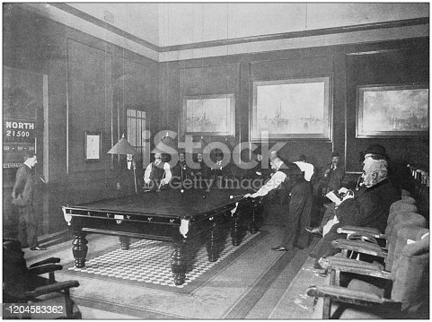 Antique photograph of the British Empire: Billiard tournament