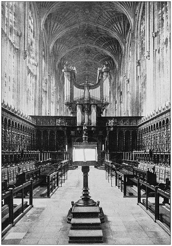 Antique photograph of the British Empire: Chapel of King's College, Cambridge