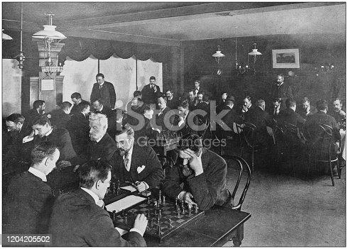 Antique photograph of the British Empire: Chess tournament