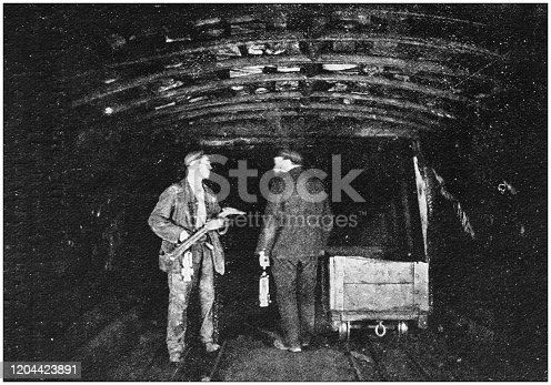 Antique photograph of the British Empire: Coal mine in England midlands