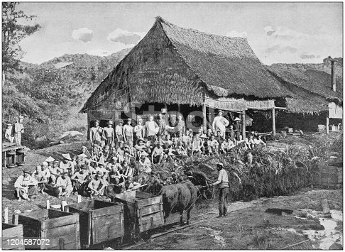 Antique photograph of the British Empire: Coal miners at Muara, British North Borneo