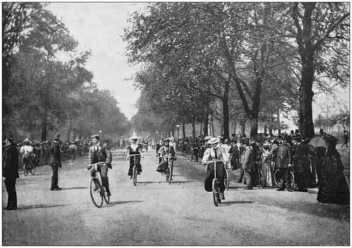 Antique photograph of the British Empire: Cycling in Hyde Park, London, England