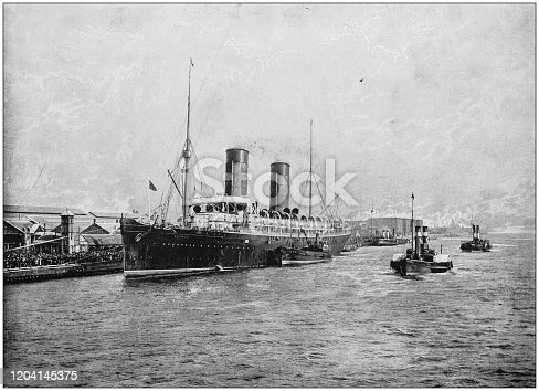 Antique photograph of the British Empire: Departure of the RMS Campania from Liverpool landing stage