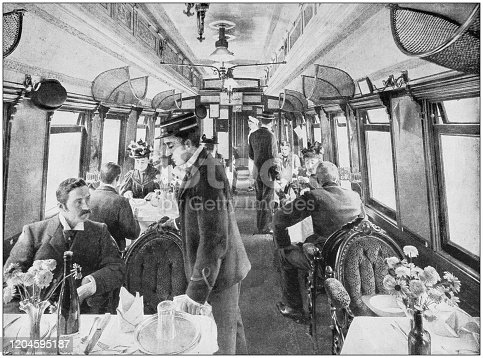 Antique photograph of the British Empire: Dining car in the Great Northern Railway, England