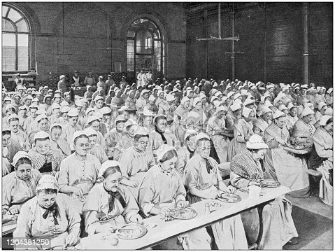 Antique photograph of the British Empire: Dinner time in St Pancras Workhouse, London
