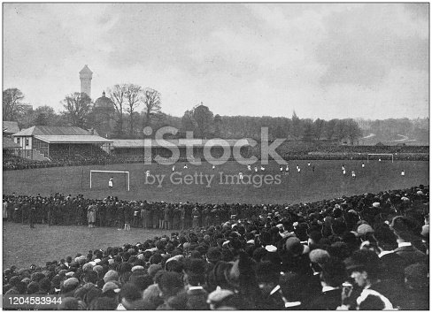 Antique photograph of the British Empire: Football game in England