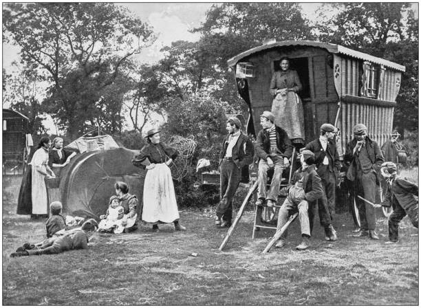 Antique photograph of the British Empire: Gipsy encampment in Essex stock photo