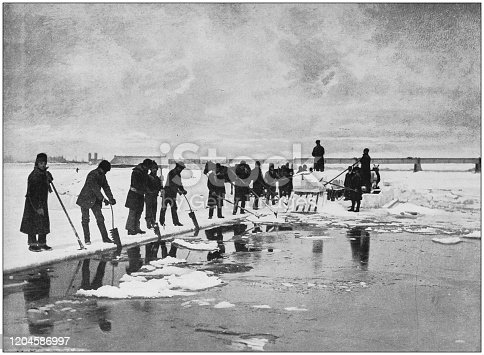Antique photograph of the British Empire: Ice cutting near Montreal