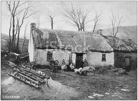 Antique photograph of the British Empire: Irish farm in county Donegal