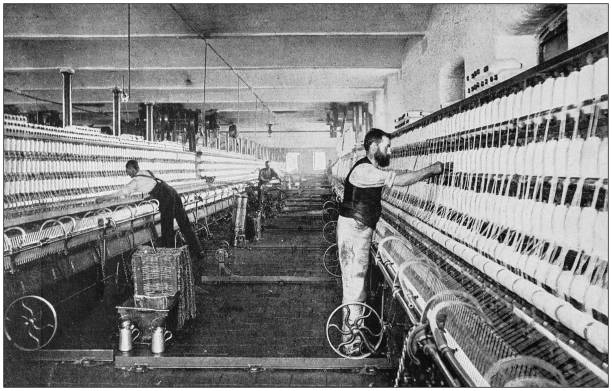 Antique photograph of the British Empire: Lancashire cotton mill stock photo