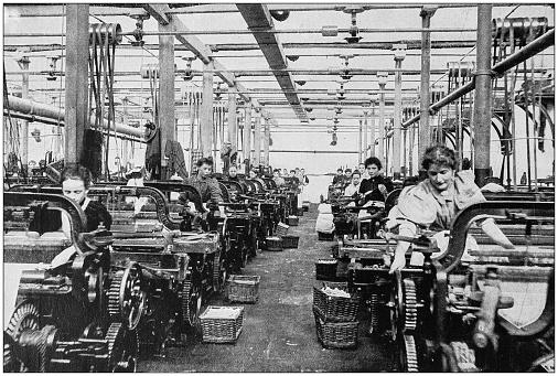 Antique photograph of the British Empire: Lancashire cotton mill
