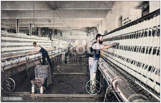 istock Antique photograph of the British Empire: Lancashire cotton mill 1314508560