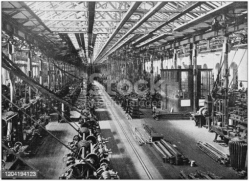 istock Antique photograph of the British Empire: Locomotive department, Midland Railway, Derby 1204194123