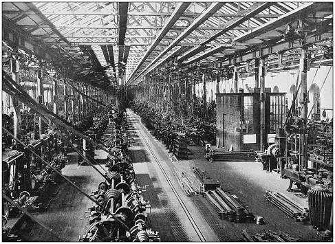 Antique photograph of the British Empire: Locomotive department, Midland Railway, Derby