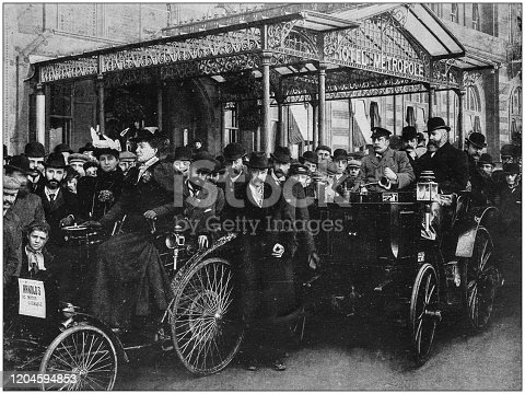 Antique photograph of the British Empire: Motor car in Brighton, England