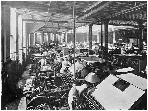 Antique photograph of the British Empire: Printing in the central hall of