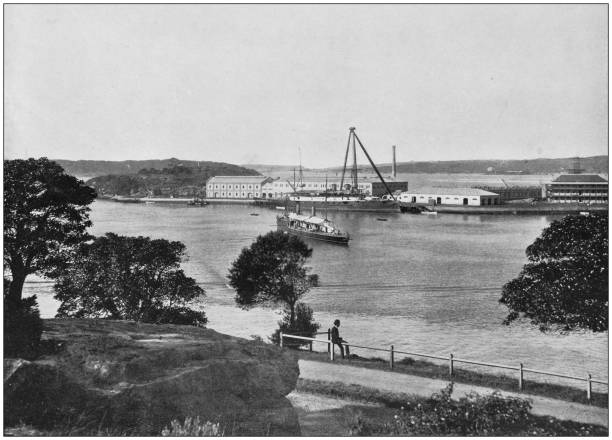 Antique photograph of the British Empire: Royal Naval Depot, Garden Island, Sydney Harbour Antique photograph of the British Empire: Royal Naval Depot, Garden Island, Sydney Harbour naval base stock pictures, royalty-free photos & images