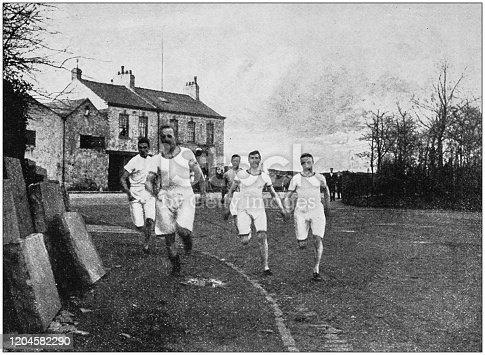 Antique photograph of the British Empire: Running race in England