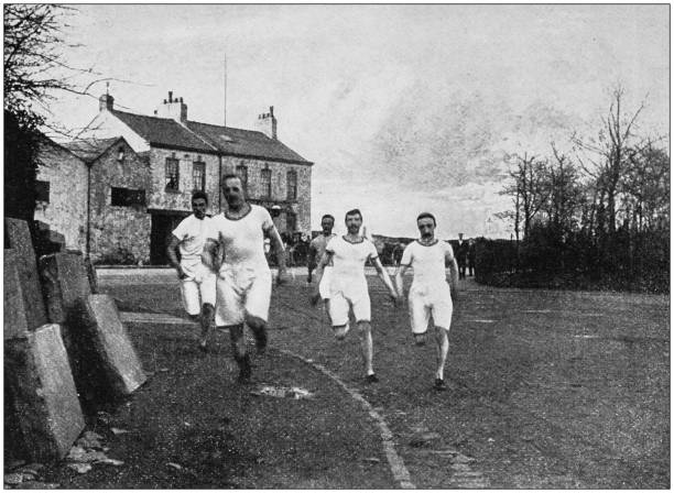 Antique photograph of the British Empire: Running race in England stock photo