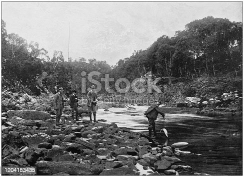 Antique photograph of the British Empire: Salmon fishing in the Blackwater, Ross-shire, Scotland