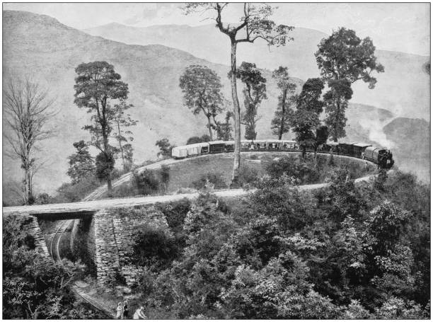 Antique photograph of the British Empire: The loop, Agony Point, Darjeeling Railway stock photo