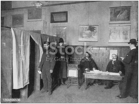 Antique photograph of the British Empire: Voting by Ballot at a Parliamentary Election, Glasgow