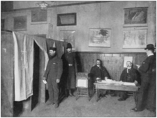 Antique photograph of the British Empire: Voting by Ballot at a Parliamentary Election, Glasgow stock photo
