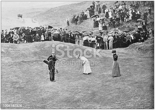 Antique photograph of the British Empire: Women playing golf