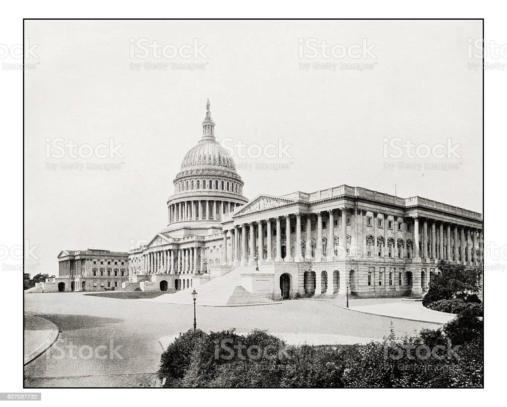 Antique photograph of The Capitol, Washington stock photo