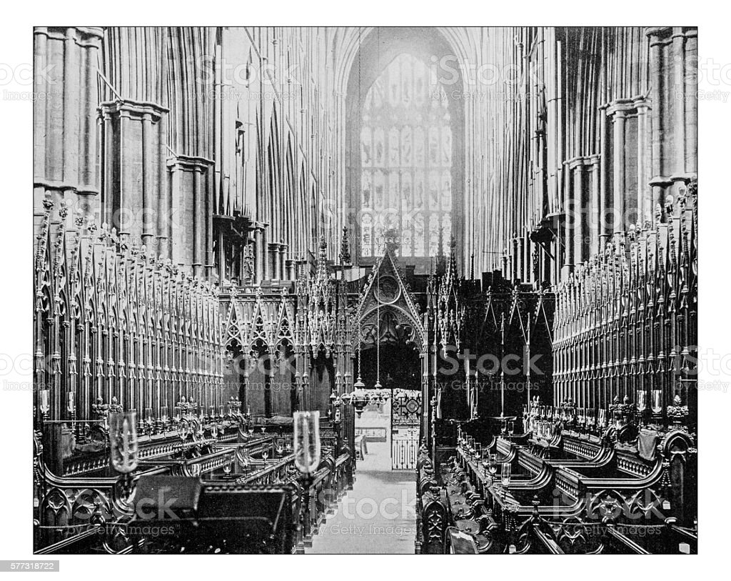 Antique photograph of the choir of Westminster Abbey(London,England)-19th century stock photo