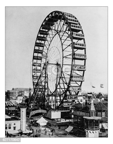 Antique photograph of the Ferris wheel at the World's Columbian Exposition, held in Chicago (USA) in 1893