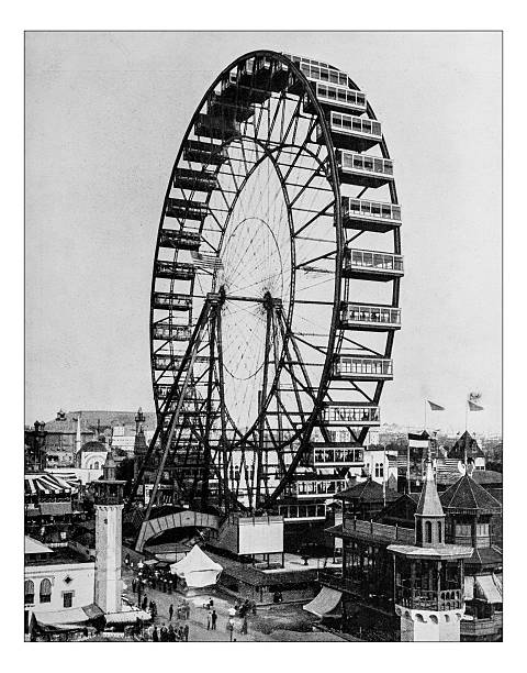 Antique photograph of the Ferris wheel -World's Columbian Exposition,Chicago-1893 Antique photograph of the Ferris wheel at the World's Columbian Exposition, held in Chicago (USA) in 1893 ferris wheel stock pictures, royalty-free photos & images